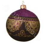 Шар стекло фиолетовый с золотым узором d8cм