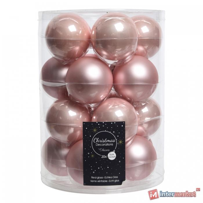 Шар стекло светло-розовый глянцевый/матовый d6см 20шт/уп
